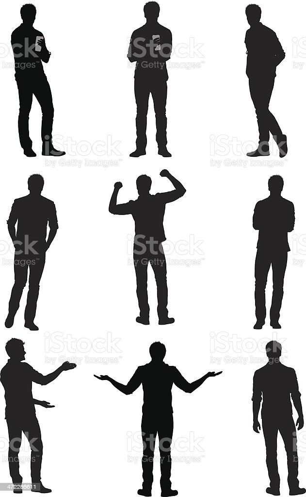 Multiple images of a man gesturing vector art illustration