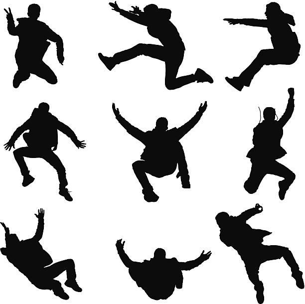 wiele zdjęć człowiek skakać - jumping stock illustrations