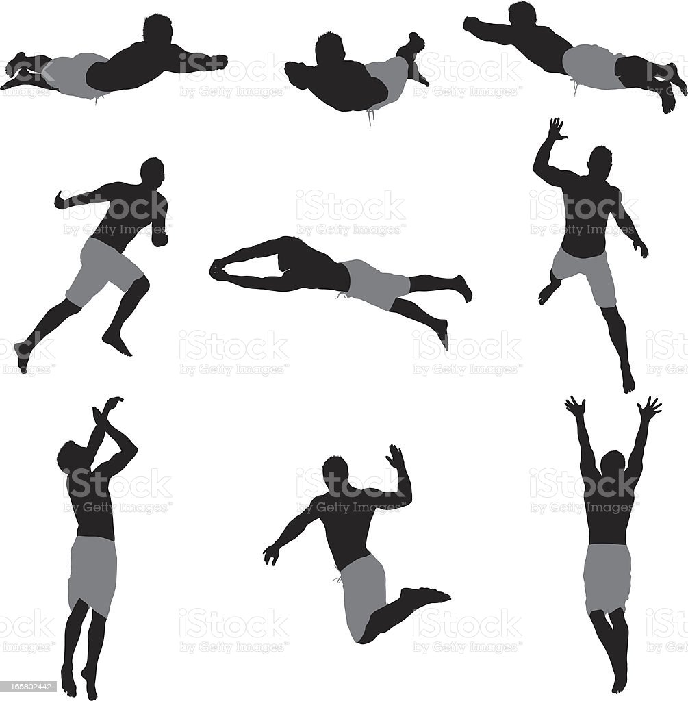 Multiple images of a man playing beach volleyball royalty-free multiple images of a man playing beach volleyball stock vector art & more images of activity