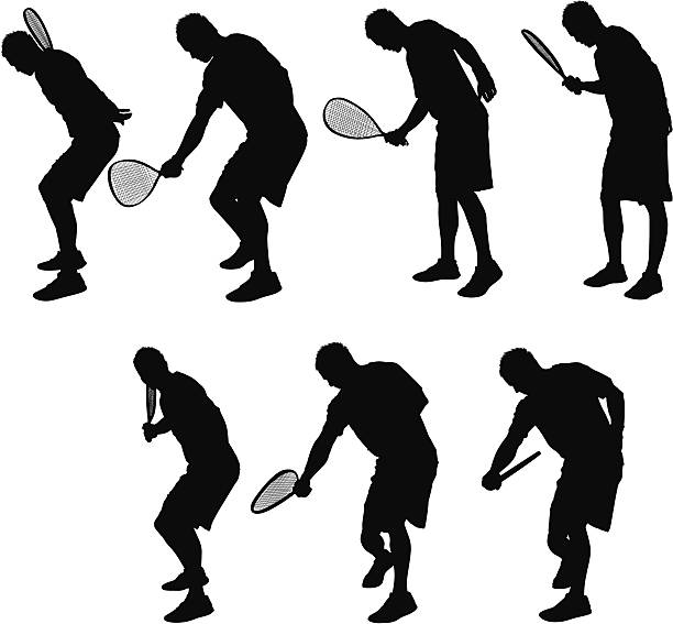 Multiple images of a man playing racquetball Multiple images of a man playing racquetballhttp://www.twodozendesign.info/i/1.png one man only stock illustrations
