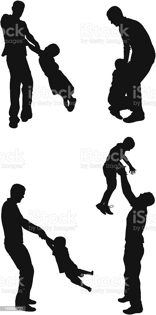 Multiple images of a man playing with his son royalty-free stock vector art