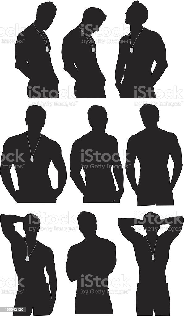 Multiple images of a man posing vector art illustration