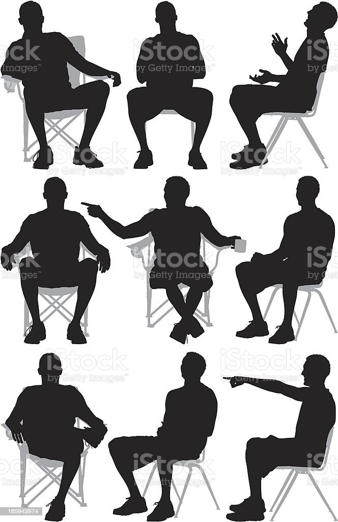 Multiple images of a man sitting on chair royalty-free stock vector art