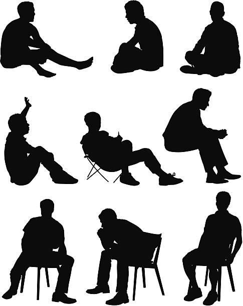 Mehrere Bilder von einem Mann sitzt – Vektorgrafik