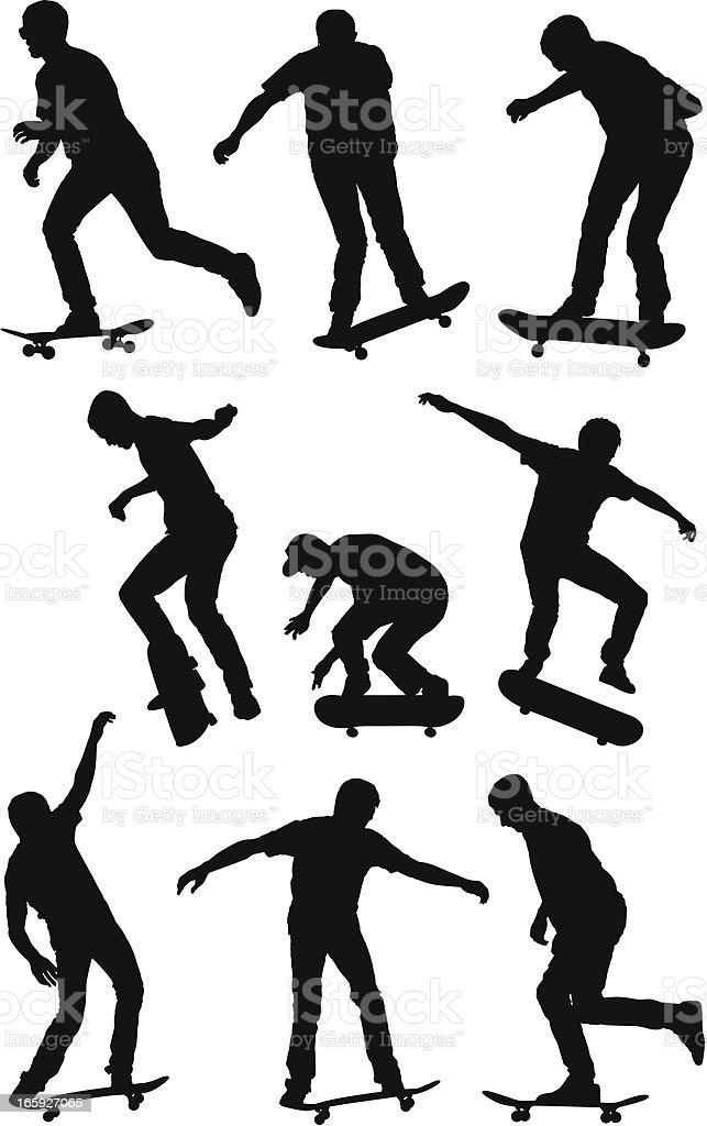 Multiple images of a man skateboarding royalty-free multiple images of a man skateboarding stock vector art & more images of activity