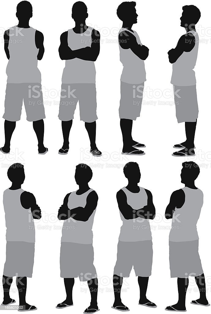 Multiple images of a man standing with arms crossed royalty-free multiple images of a man standing with arms crossed stock vector art & more images of adult
