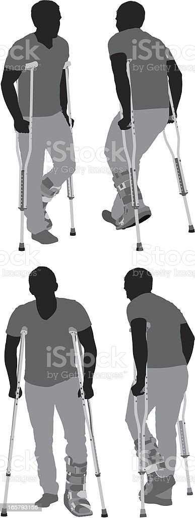 Multiple images of a man walking on crutches vector art illustration