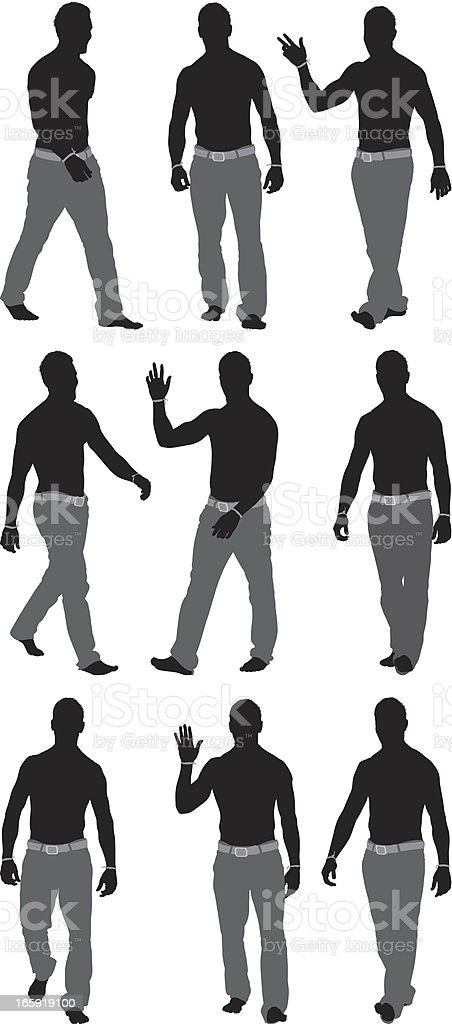 Multiple images of a man waving royalty-free stock vector art