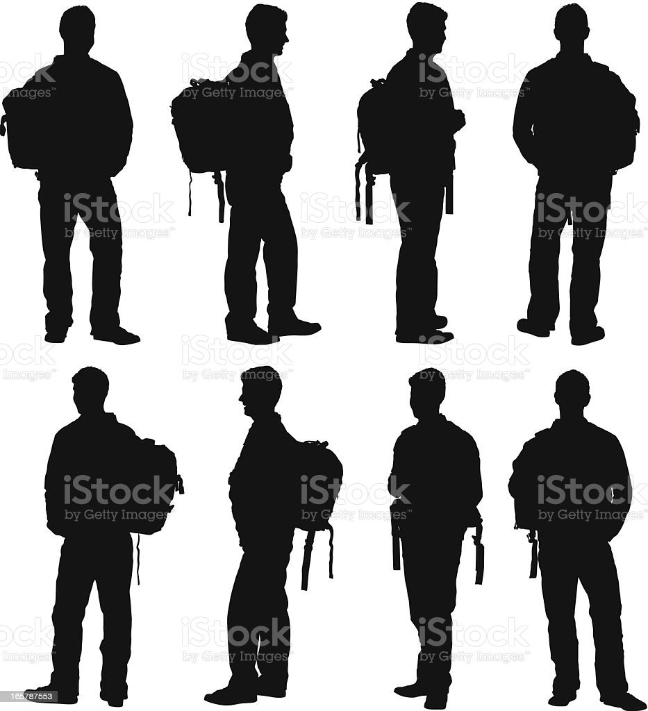 Multiple images of a man with backpack vector art illustration