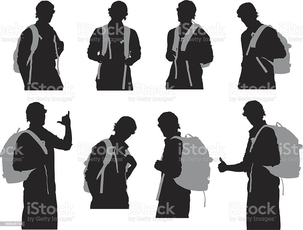 Multiple images of a man with backpack royalty-free stock vector art