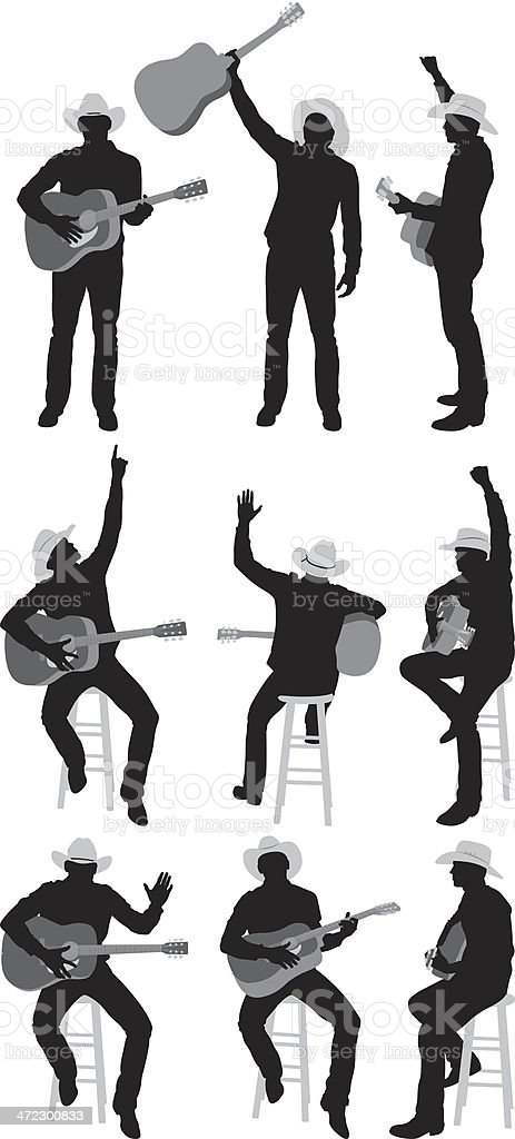 Multiple images of a man with guitar vector art illustration