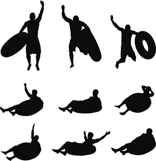 ilustrações de stock, clip art, desenhos animados e ícones de várias imagens de um homem com boia de pneu - tronco nu