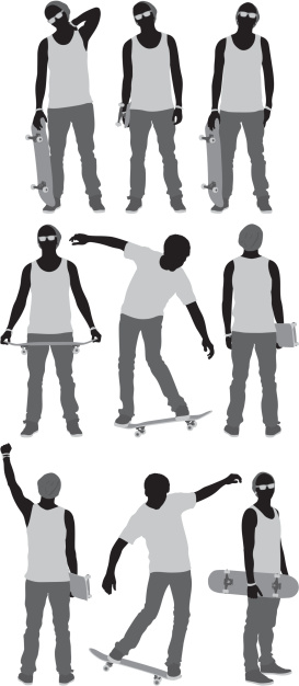Multiple images of a man with skateboard