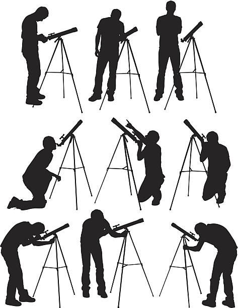 multiple images of a man with telescope - astronomy telescope stock illustrations