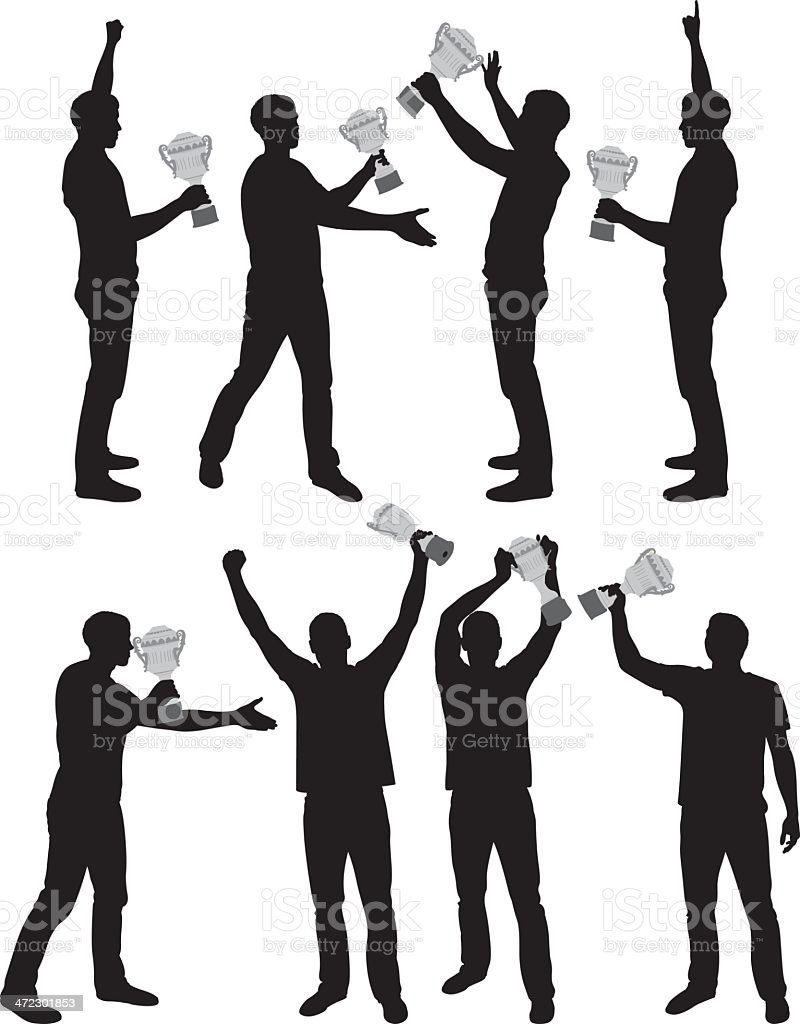 Multiple images of a man with trophy royalty-free stock vector art