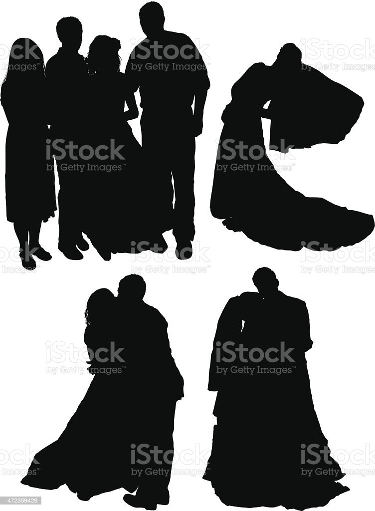 Multiple images of a marriage couple royalty-free stock vector art