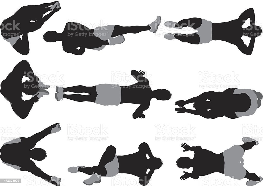 Multiple images of a muscular man exercising royalty-free stock vector art