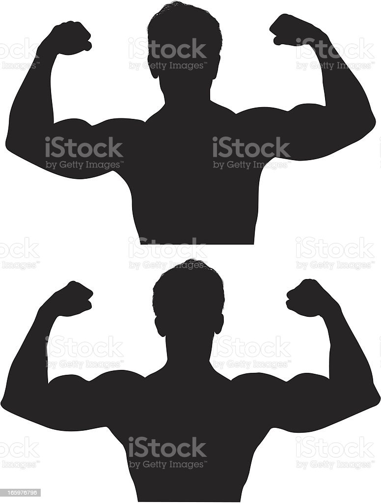 Multiple images of a muscular man flexing his muscles royalty-free stock vector art
