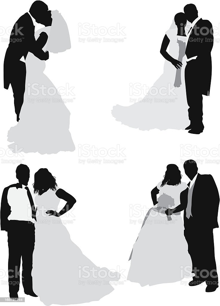 Multiple images of a newlywed couple royalty-free stock vector art