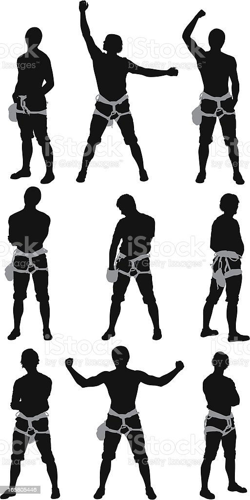 Multiple images of a rock climber vector art illustration