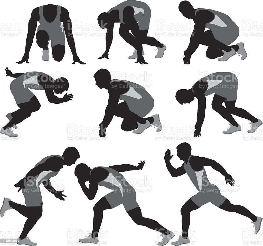 Multiple images of a runner royalty-free multiple images of a runner stock vector art & more images of activity
