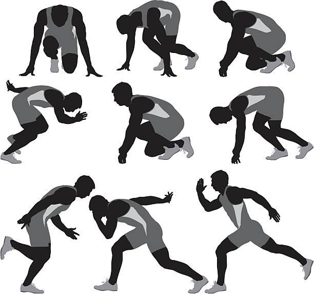 複数のイメージのランナー - 陸上競技点のイラスト素材/クリップアート素材/マンガ素材/アイコン素材