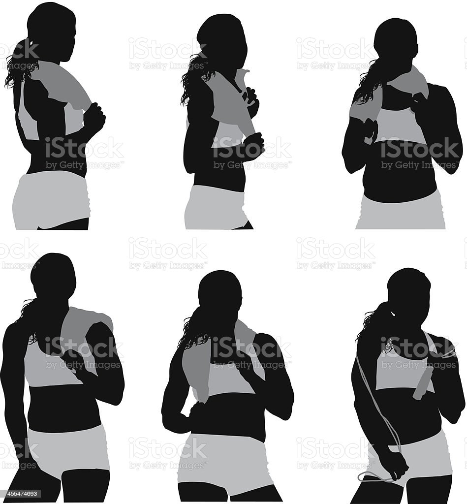 Multiple images of a sportswoman with towel royalty-free stock vector art