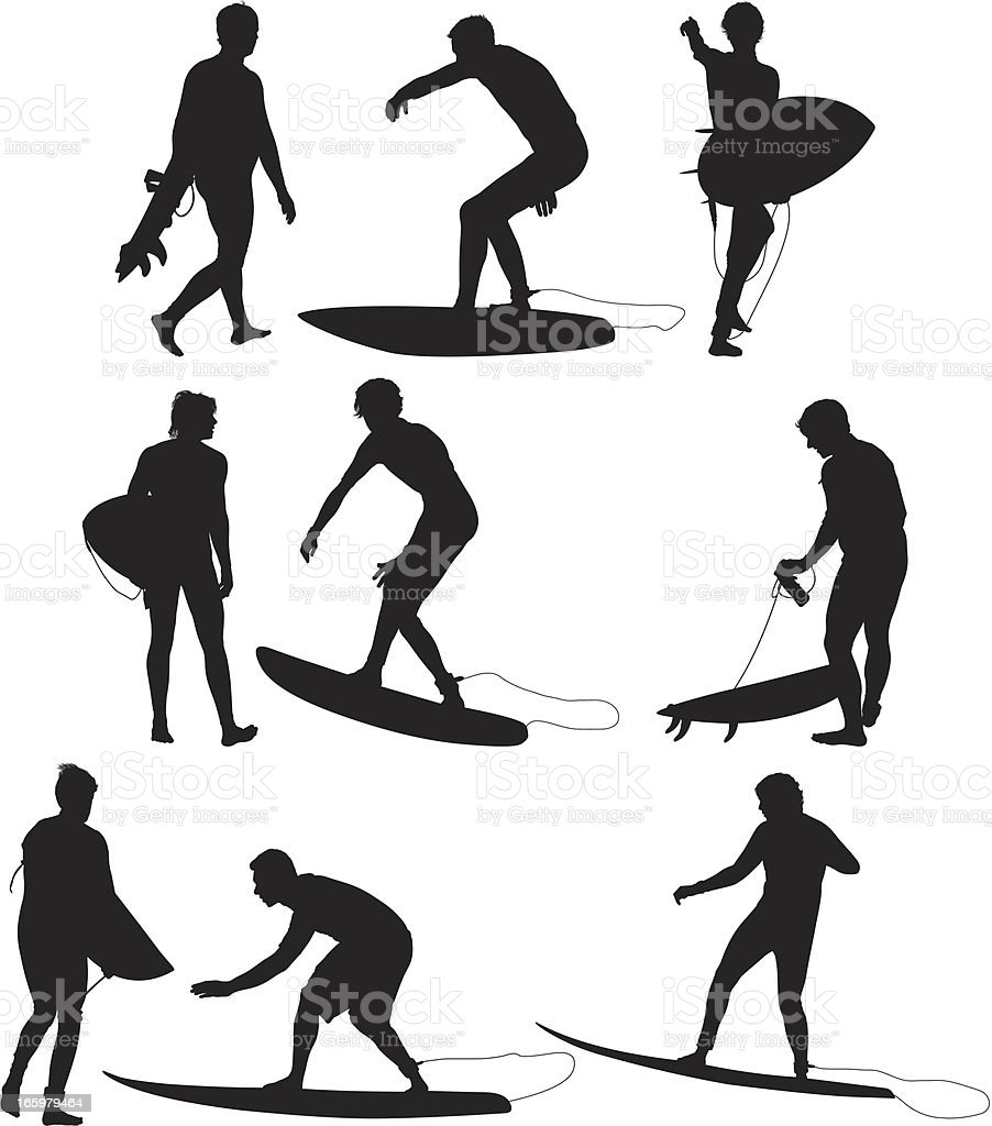Multiple images of a surfer in action royalty-free stock vector art