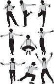 Multiple images of a tap dancer