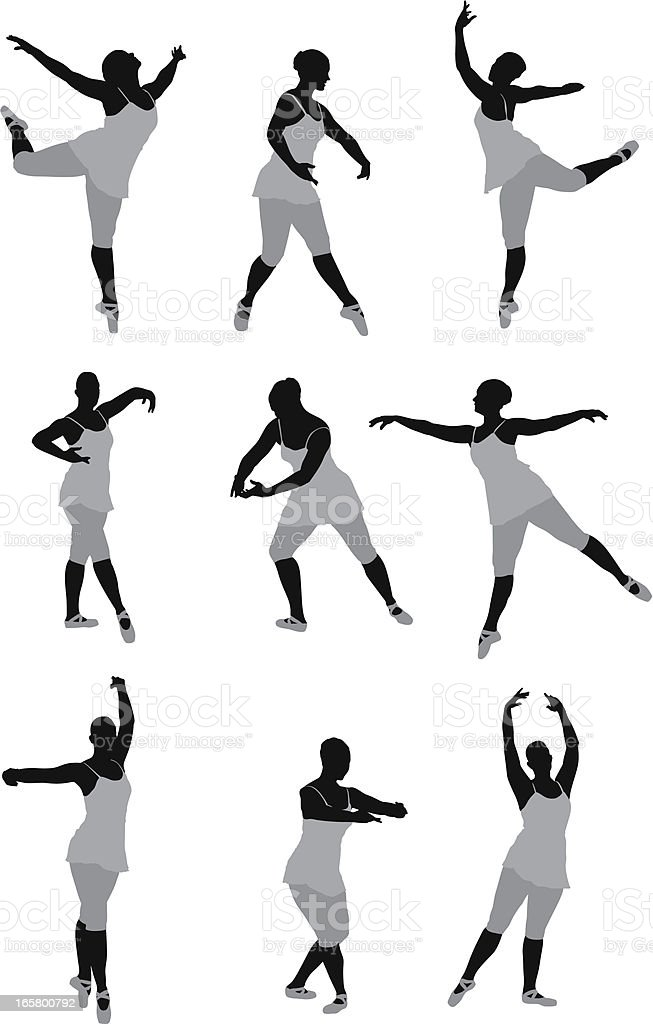 Multiple images of a woman dancing vector art illustration