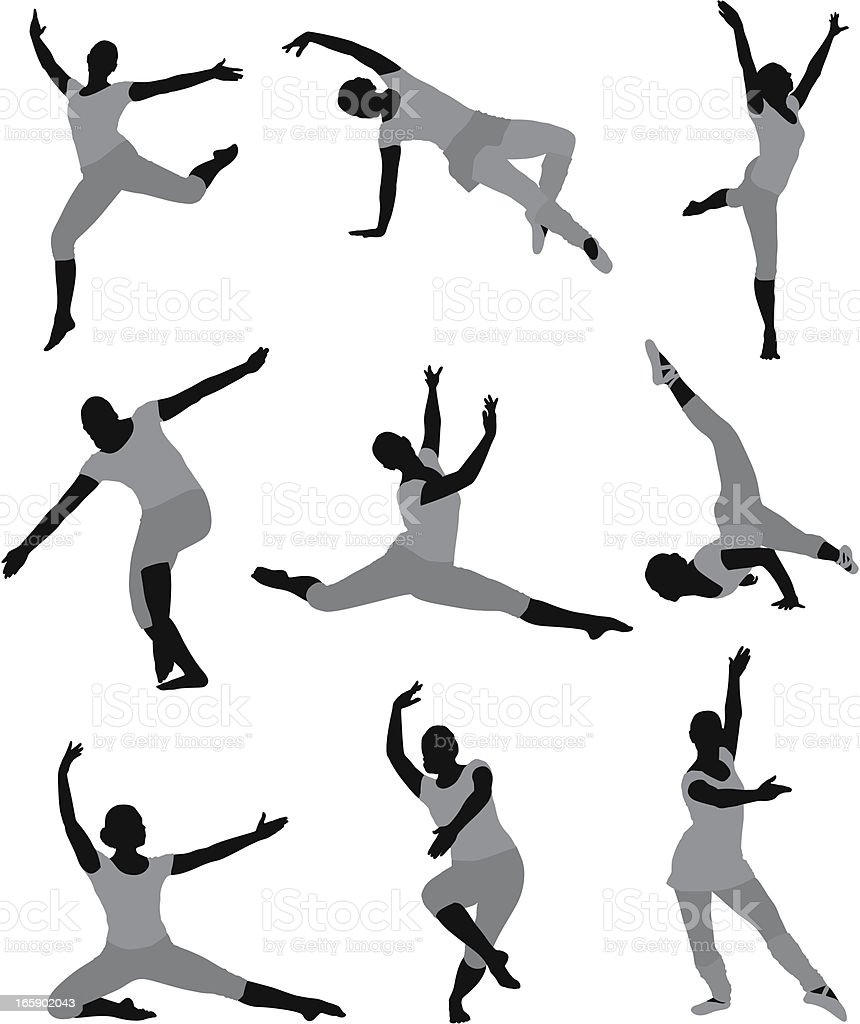 Multiple images of a woman dancing royalty-free stock vector art