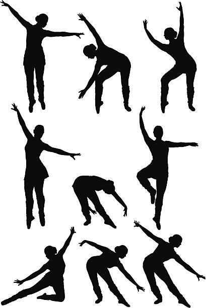 mehrere bilder von einer frau, tanzen - spagat stock-grafiken, -clipart, -cartoons und -symbole
