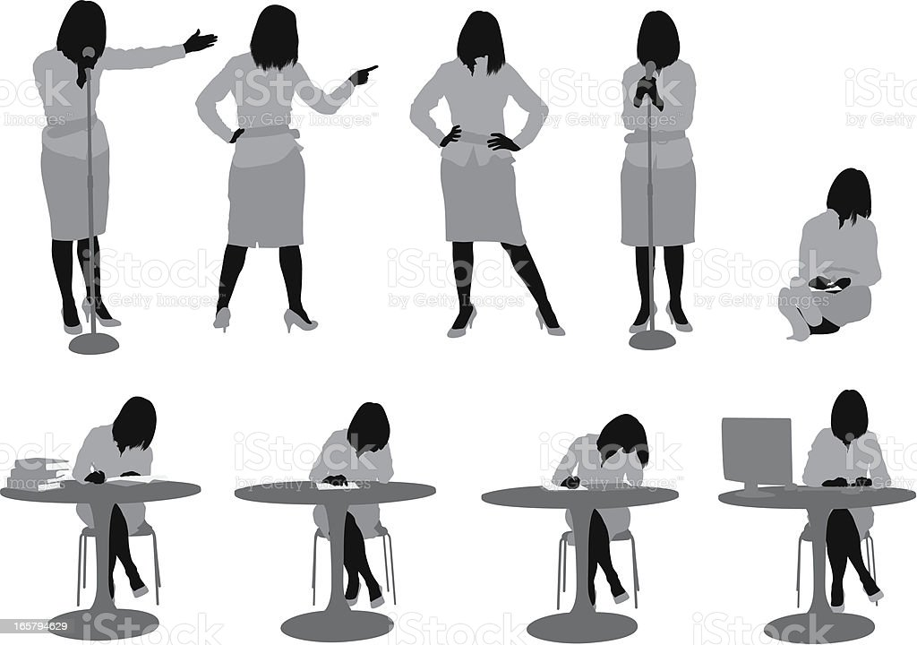 Multiple images of a woman in different poses royalty-free stock vector art