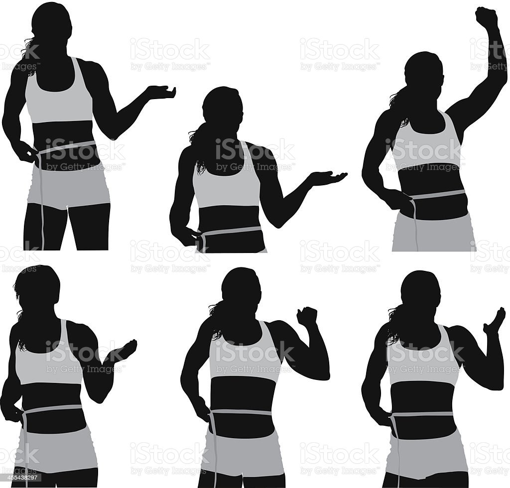 Multiple images of a woman measuring her waist vector art illustration