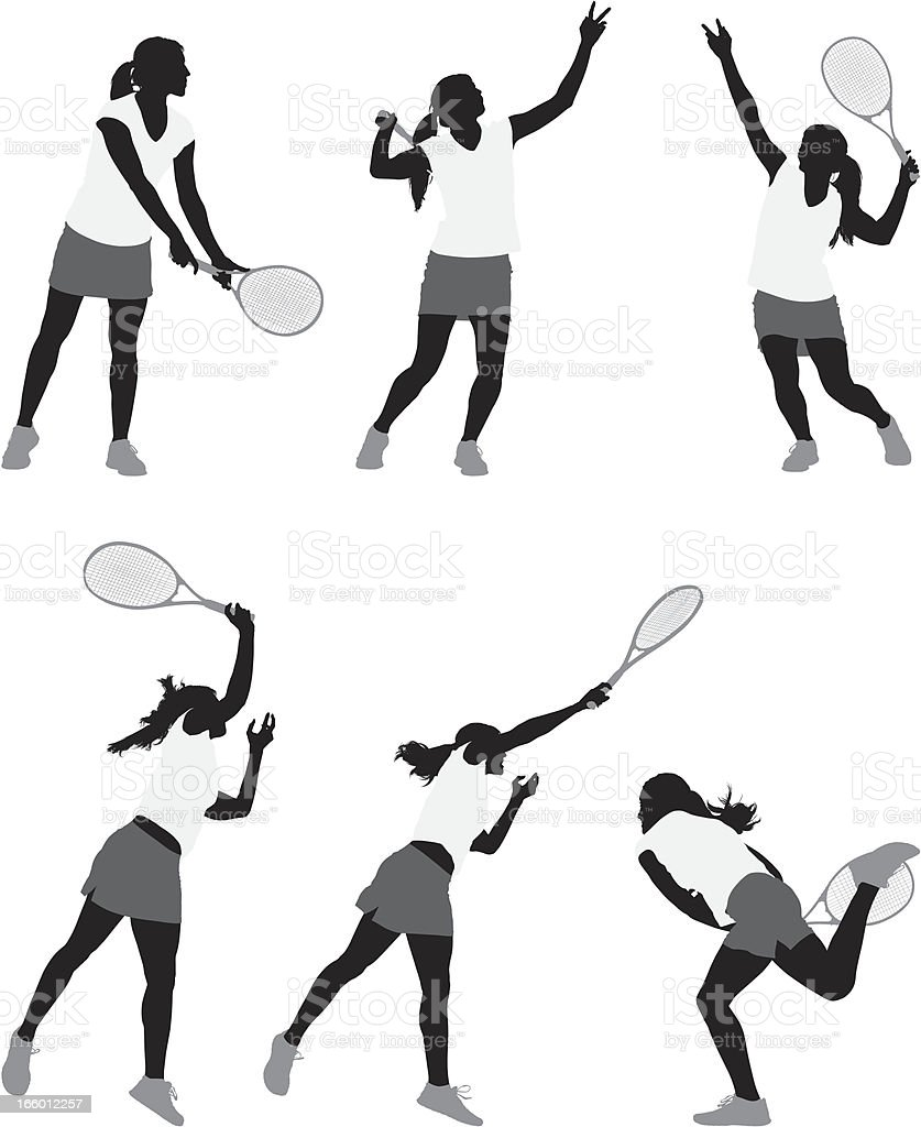 Multiple images of a woman playing tennis royalty-free stock vector art
