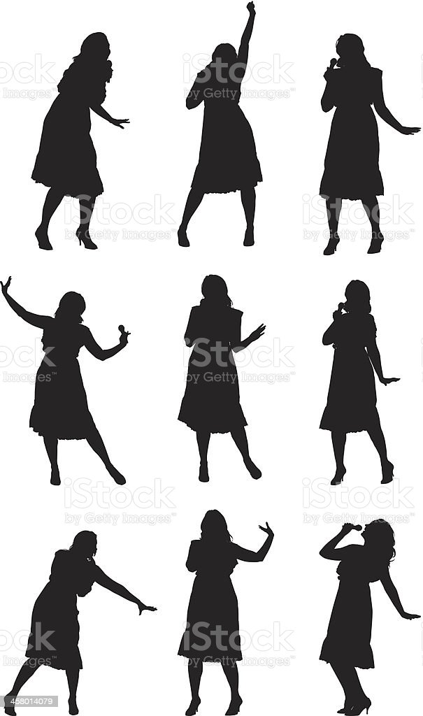 Multiple images of a woman singing and dancing vector art illustration