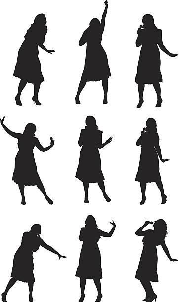 stockillustraties, clipart, cartoons en iconen met multiple images of a woman singing and dancing - zanger