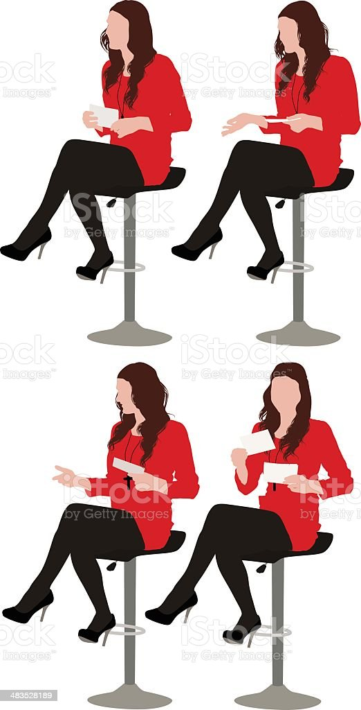 Multiple images of a woman sitting on stool royalty-free stock vector art