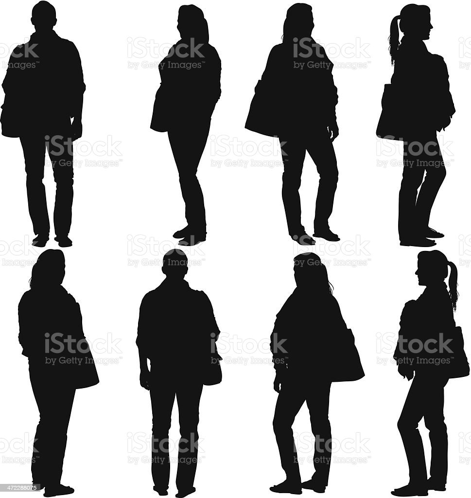 Multiple images of a woman vector art illustration
