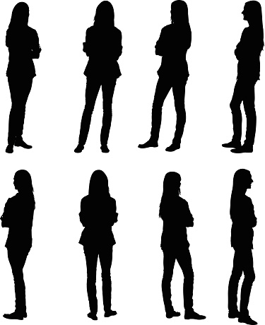 Multiple images of a woman with her arms crossed