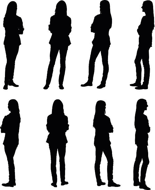 multiple images of a woman with her arms crossed - standing stock illustrations