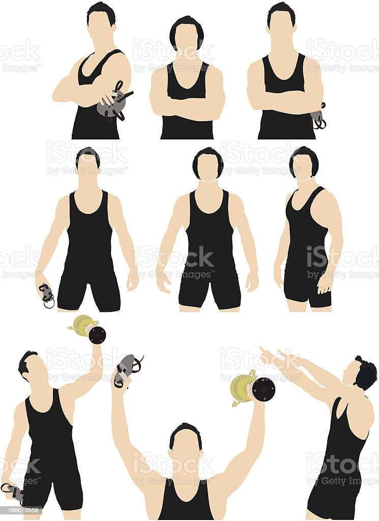 Multiple images of a wrestler royalty-free stock vector art