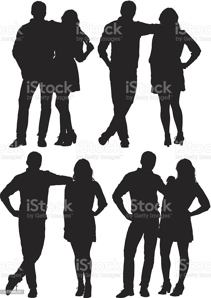 Multiple images of a young couple royalty-free stock vector art