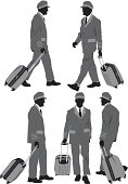 Multiple images of an airline pilot with his luggage