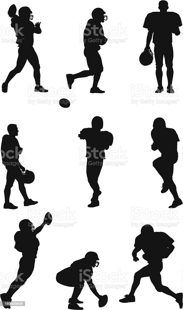 Multiple images of an American football player vector art illustration