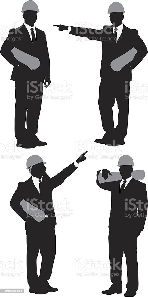 Multiple images of an architect holding blueprint royalty-free multiple images of an architect holding blueprint stock vector art & more images of adult