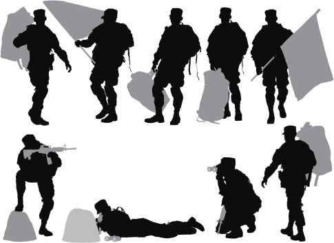 Multiple images of an army soldier