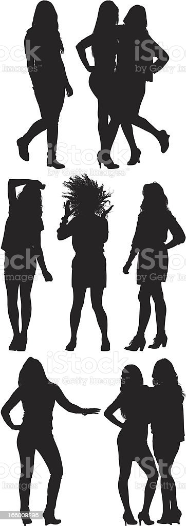 Multiple images of beautiful women posing royalty-free stock vector art