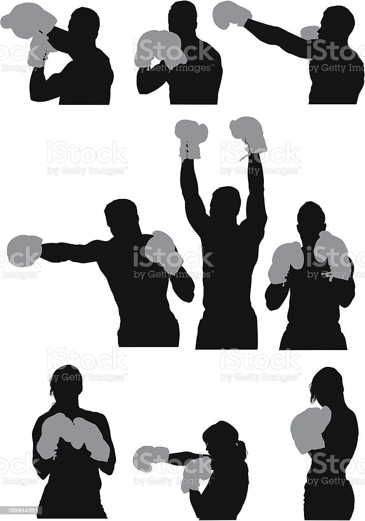 Multiple images of boxers royalty-free stock vector art