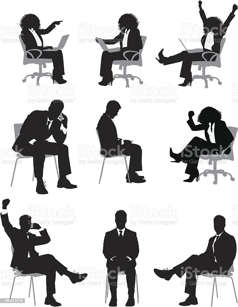 Multiple images of busines people sitting on chair vector art illustration